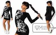 Модное женское мини платье с принтом