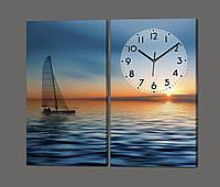 Модульная картина с часами из двух частей Парусник ( море, закат ) 80*70 см Код: 804.2к.87