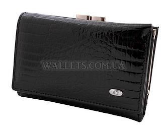 Женский кожаный кошелек ST, маленький, черный лак.