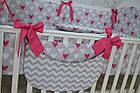 Комплект постельного белья Asik Сердечки амарантового цвета на сером 8 предметов (8-225), фото 9