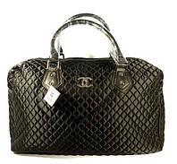 Дорожная сумка - саквояж Chanel 5340 черная стеганая, текстиль