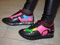 Т475 - Женские кроссовки цветные черные