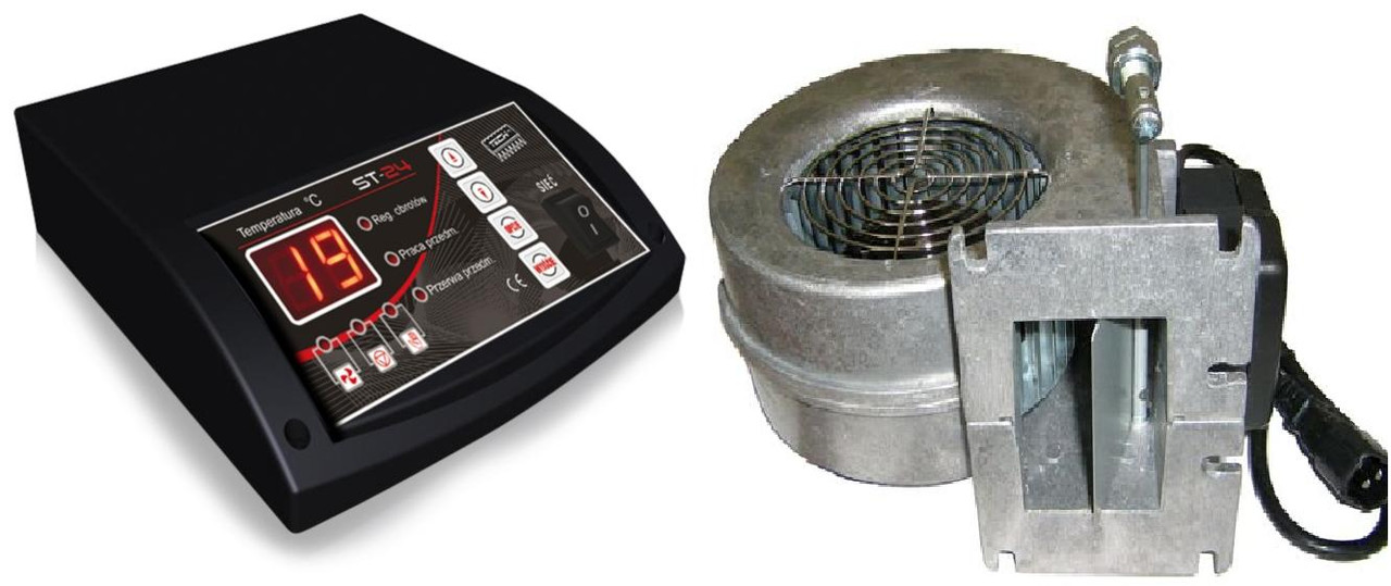 Блок управления, автоматика Tech ST-24 + вентилятор WPA  для котлов на твердом топливе