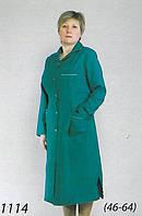 Удлиненный медицинский халат в зеленом цвете с карманами