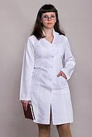 Женский медицинский  халат длинный рукав на пуговицах габардин