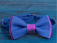 Бабочка галстук двойная синяя с малиной