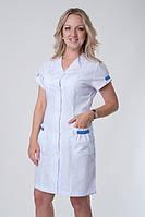 Медицинский халат белый с коротким рукавом цветные вставки на карманах