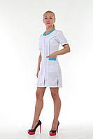 Женский медицинский халат короткий рукав с цветными вставками