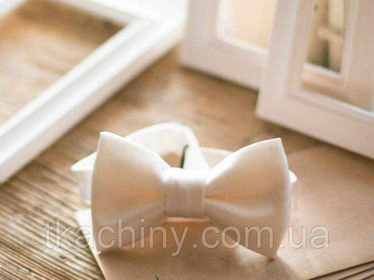 Краватка метелик білий матовий