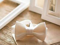 Бабочка галстук белый матовый, фото 1