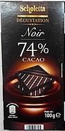 Черный шоколад Scholetta 74 % какао, 100 гр