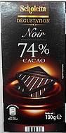 Черный шоколад Scholetta 74 % какао, 100 гр, фото 2
