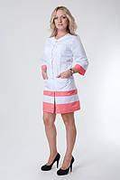 Женский медицинский халат с карманами цветные полоски