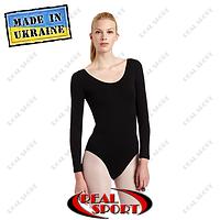 Купальник для танцев и гимнастики черный хлопок. Размеры: XXL (рост 155-164 см), XXXL (рост 164-175 см)