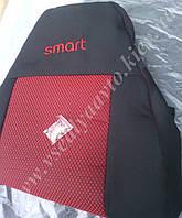 Автомобильные чехлы на сидения SMART Fortwo (черно-красные)