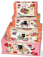 Роскошные яркие сундучки шкатулки набор 4 шт в стиле Прованс