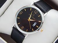 Мужские (Женские) кварцевые наручные часы Romanson на кожаном ремешке с датой, фото 1