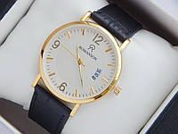 Мужские (Женские) кварцевые наручные часы Romanson на кожаном ремешке с датой