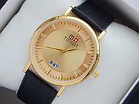 Мужские (Женские) кварцевые наручные часы Tissot на кожаном ремешке с датой, фото 1