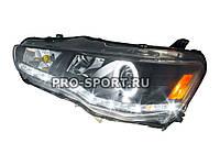 """Передні фари тюнінг Mitsubishi Lancer X 2007+ з денними ходовими вогнями, """"ангельськими очками"""", чорний"""