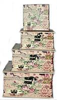 Стильные винтажные сундучки шкатулки набор 4 шт в стиле Прованс, фото 1