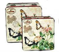 Скринька вінтажна Метелики в стилі Прованс набір 2 шт, фото 1