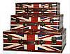 "Кейс ""под кожу"" с флагом Великобритании чемодан набор 3 шт"