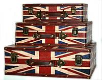 "Кейс ""под кожу"" с флагом Великобритании чемодан набор 3 шт, фото 1"