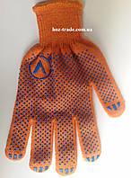 Перчатки рабочие оранжевые  V качественные с пвх-точкой (строительные), фото 1