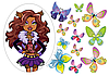"Вафельные картинки ""Monster High + бабочки"" А4 (код 01971)"