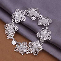 """Шикарный ювелирный браслет 925 """"Лотосы""""."""