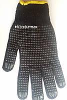 Рабочие перчатки черные с точкой ПВХ (строительные) желт манжет