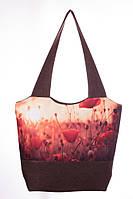 Большая женская сумка с маками, фото 1