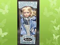 """Кукла фарфоровая ТМ """"KEVINA"""", h = 30см , одежда в стиле кантри, в подарочной коробке"""