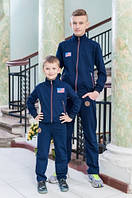 Качественный трикотажный спортивный костюм для мальчика | Синий