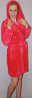 Махровый короткий халат однотонный с капюшоном