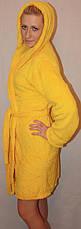 Махровый короткий халат однотонный с капюшоном, фото 3