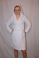 Махровый короткий халат однотонный с капюшоном, фото 2