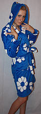 Халат махровый на запах цветной с капюшоном, фото 2