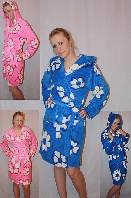 Махровый халат на запах цветной