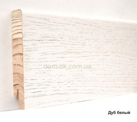 Шпонированный плинтус Ключук Дуб белый высотой 60 и 80мм 80х18мм.