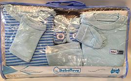 """Детский набор для новорожденных """"Полосатик"""". 0-3 мес.Голубой. Оптом."""