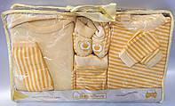 """Детский набор для новорожденных """"Полосатик"""". 0-3 мес.Желтый. Оптом."""