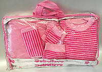 """Детский набор для новорожденных """"Полосатик"""". 0-3 мес.Розовый. Оптом."""