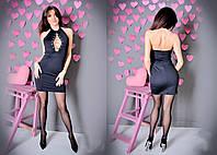 Платье женское короткое из дайвинга и шнуровкой на груди P1050, фото 1