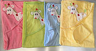 """Полотенца для новорожденных  """"Жираф"""". Розовый.Зеленый.Голубой.Желтый.Оптом."""