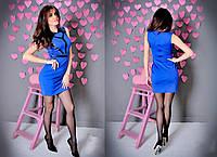 Платье женское короткое из дайвинга и отделкой из кожи P1051, фото 1