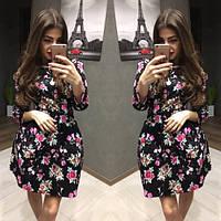 Платье женское короткое с цветочным принтом P1053, фото 1