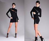 Платье женское короткое трикотажное со змейками P1065, фото 1