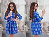 Платье женское короткое с цветочным принтом и поясом P1074